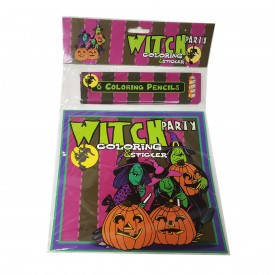 Witch Party Coloring & Sticker Book (Paperback)