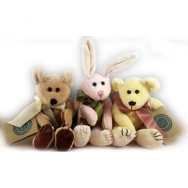 1998 Boyds Bear Investment Collectibles Fully Jointed Rabbit & Bears Beanie Plush Set of 3 No. C47281