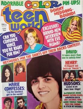 Teen World Donny & Marie Osmond, David Cassidy, Rick Springfield, Eve Plumb, Maureen McCormick, More June 1975 (Collectible Single Back Issue Magazine)