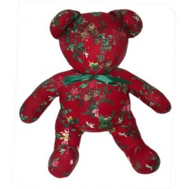 Alagold Red Poinsettia and Holly Berry Tapestry Bear 18
