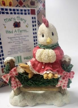 "Enesco Mary Mary Had A Farm #274151 1997 ""Eggspecting You Home For The Holidays"" Hen Sitting On Fence Figurine"