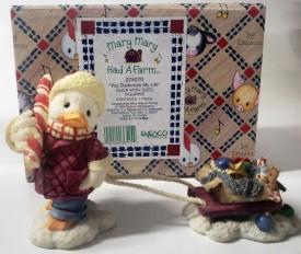"Enesco Mary Mary Had A Farm #274070 1997 ""You Duckorate My Life"" Duck With Sled Figurine"