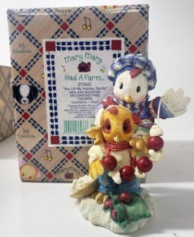 """Enesco Mary Mary Had A Farm #273422 1997 """"You Lift My Holiday Spirits"""" Hen and Rooster Decorating Tree Figurine"""