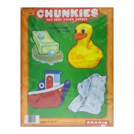 Vintage 1984 Sharin Chunkies Tray Puzzle Things For My Bath 4pc Ages 1-1/2 to 4