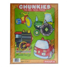 Vintage 1984 Sharin Chunkies Tray Puzzle Things That Go 4pc Ages 1-1/2 to 4