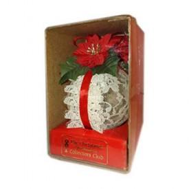 The Christmas Ornament Collectors Club Poinsettia & Lace Plastic Ball Ornament