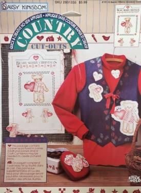 Daisy Kingdom Country Cutouts No-Sew Applique Berry Merry Christmas Teddy Bear #19110