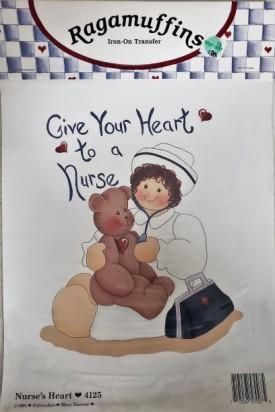 Ragamuffins Nurse's Heart Iron-On Transfer #4125