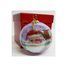 JCPenney Christmas Collectibles Inside Art Hand Painted Glass Santa Ornament 1999