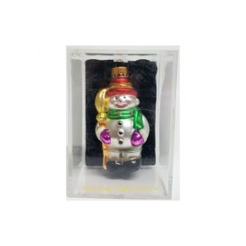 The Trim Merry Hand Crafted Glass Mr. Snowman Ornament