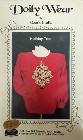 Doily Wear by Ozark Crafts Christmas Tree Applique Sewing Pattern #814