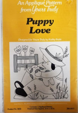 """Vintage Yours Truly Applique Pattern Puppy Love 12"""" x 12"""" #3035"""