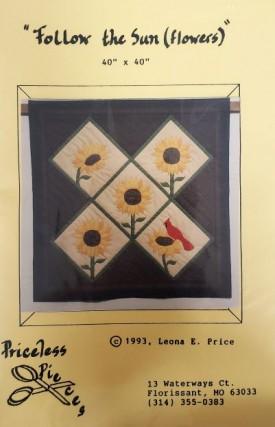 "Vintage Priceless Pieces Pattern Follow the Sunflowers Applique 40"" x 40"""