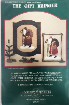 Vintage Pattern The Gift Bringer Santa Country Appliques #CA-57