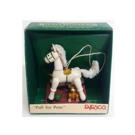 Vintage 1989 Enesco Small Wonders Miniature Ornaments Pull Toy Pony