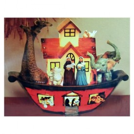 Holiday Lighted Noahs Ark by Living Quarters 7in x 10in x 9in