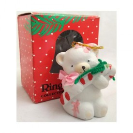 Vintage Ring-a-Lings Collector Bell Ornament Girl Bear
