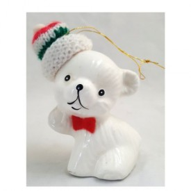 Vintage White Ceramic Bear With Knit Cap Ornament