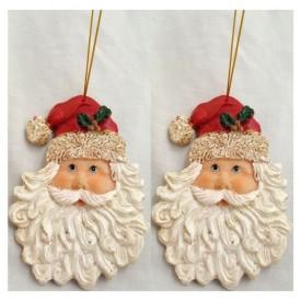 Vintage Santa Claus Face Ornaments Set of 2