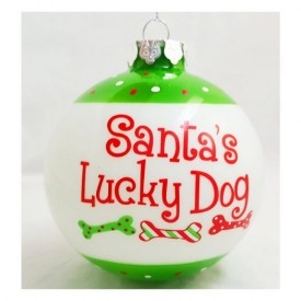 Old Time Pottery Inc Santas Lucky Dog Large Glass Ornament