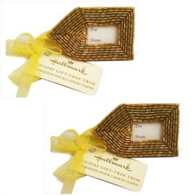 Vintage Hallmark Gold Beaded Gift Tags Set of 2