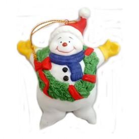 Cubby Snowman Porcelain Ornament