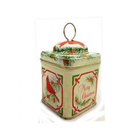 Vintage 1985 Enesco Merry Christmas Tin Metal Box Ornament