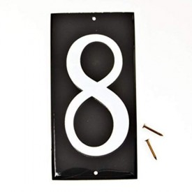 2 each: 3-1/2 Reflective Aluminum House Numbers (8) on 5 Black Panel