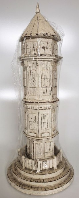 """The Natural Light Wood Carved Rustic White Lighthouse 17"""""""