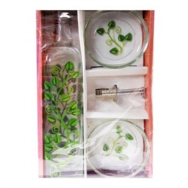 Green Leaf Glass Dipping Set
