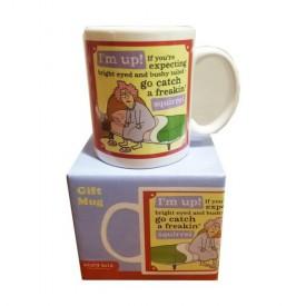 Leanin Tree Ceramic 12oz Coffee Mug Aunty Acid Im Up! If Youre Expecting Bright Eyed & Bushy tailed - Go Catch a Freakin Squirrel Morning Coffee Funny Gift  Mugs (MGW56137)