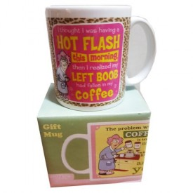 Leanin Tree Ceramic 12oz Coffee Mug Aunty Acid I Thought I was Having a HOT FLASH This Morning Then I Realized my LEFT BOOB Had Fallen in my COFFEE Morning Coffee Funny Gift Mugs (MGW56141)