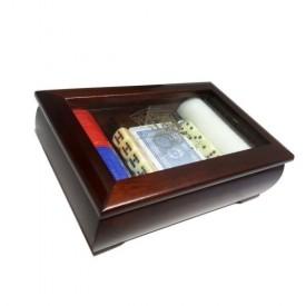 Wood Box Etched Glass Desktop Poker Set - 2 Decks Cards, 80 Chips, 5 Poker Dice, 5 Standard Dice