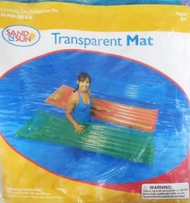 "Sand N Sun Swim Float Mat 72"" Transparent Pool Blue"