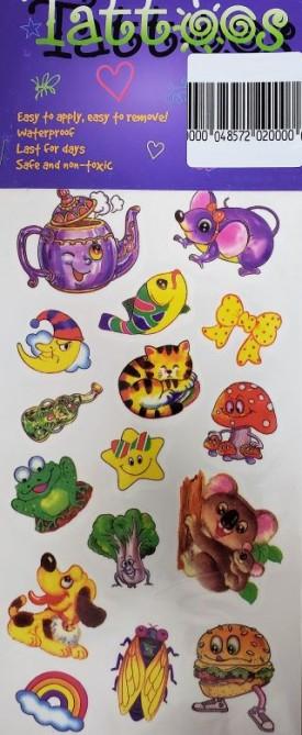 Children's 16 Temporary Tattoos - Teapot, Animals, Foods, Mad Moon, Star, Rainbow