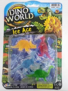 Dino World Ice Age Era Miniature 4 Piece Dinosaur Action Figure Set
