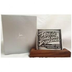 Vintage 1996 John Deere Aftermarket 2000 Nashville Expo Souvenir Pewter People Make The Difference Desk Plaque With Wood Base