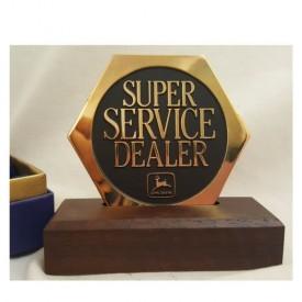 Vintage 1990S John Deere Super Service Dealer Solid Brass Desk Plaque With Wood Base