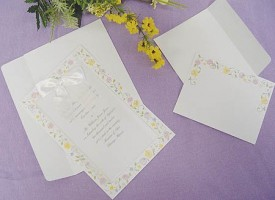 Print Your Own Spring Floral Trimmed Elegant Invitations with Satin Bow- Make...
