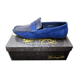 Sedagatti Mens Luxury Casual Blue Suede Slip-on Penny Loafer Shoes Size: 10