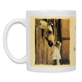 Leanin Tree Ceramic 12oz Coffee Mug Sweet Little Girl and Horse A Little Sugar Goes a Long Way! Morning Coffee Funny Gift Mugs (MGW56071)