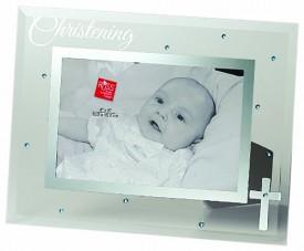 Russ Berrie Small Blessings Christening Glass Photo Frame, Blue