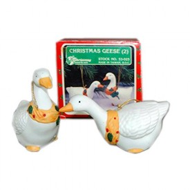 Christmas Around The World Christmas Geese Porcelain Set of 2 Ornaments No. 5...