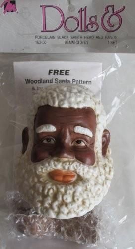 Mangelsens Craft 1 SET of PORCELAIN Doll Black Santa Head 3-3/8 and Hands Set. WOODLAND Santa Pattern & Instructions (1993).