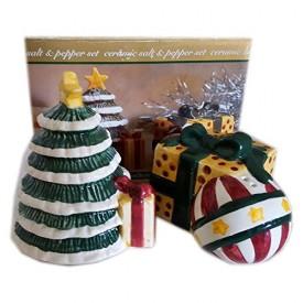 Hometrends Holiday Christmas Tree And Present Salt & Pepper Set No. 964245