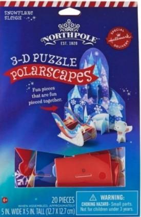 Hallmark Northpole PolarScapes 3D Puzzle Snowflake Sleigh