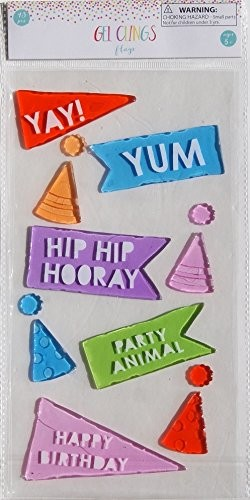 Party Decor Gel Clings Happy Birthday Signs and Hats 13 Piece