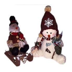 Rustic Winter Holiday Sitting Snowman w/ Shovel & Bird On Sled Plushs 12 - 14