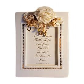 1994 Roman Inc Wedding Photo Frame 3 x 4 Faith, Hope & Love 1 Corinthians 1...