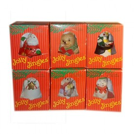 Vintage 1986 Jolly Jingles Porcelain Collector Bell Christmas Ornaments Compl...